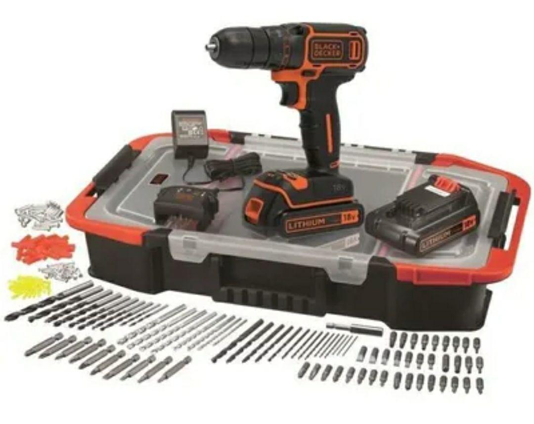 Coffret Perceuse sans-fil 18V Black + Decker BDCDC18BAST-QW - 2 batteries 1.5Ah, chargeur, 160 accessoires (Via ODR de 26.99€)