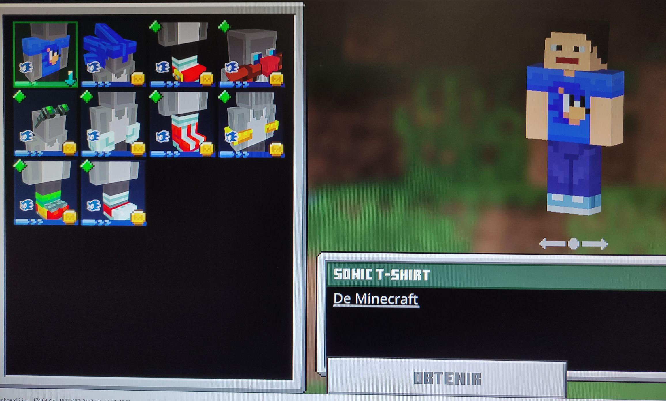 Skin pour minecraft design T-shirt Sonic sur PC ou Xbox (Dématérialisé)