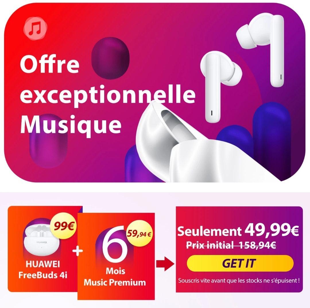 6 mois d'abonnement à Huawei Music Premium + écouteurs freebuds 4i offert (huawei.com)