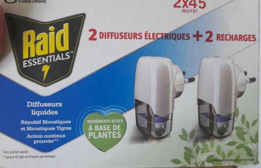 Lot de 2 prises anti moustiques Raid