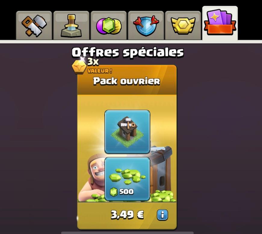 Cabane d'Ouvrier + 500 Gemmes sur Clash of Clans (Dématérialisé)