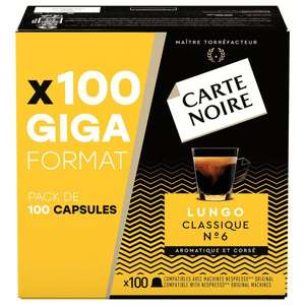Paquet de 100 capsules de café Carte noire compatible Nespresso Lungo classique ou Espresso intense