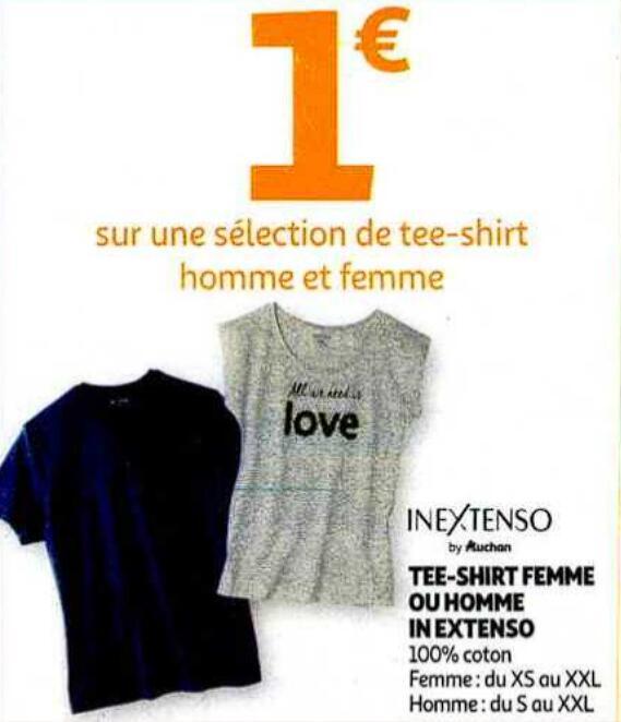 Sélections de t-shirts 100% coton homme et femme à 1€