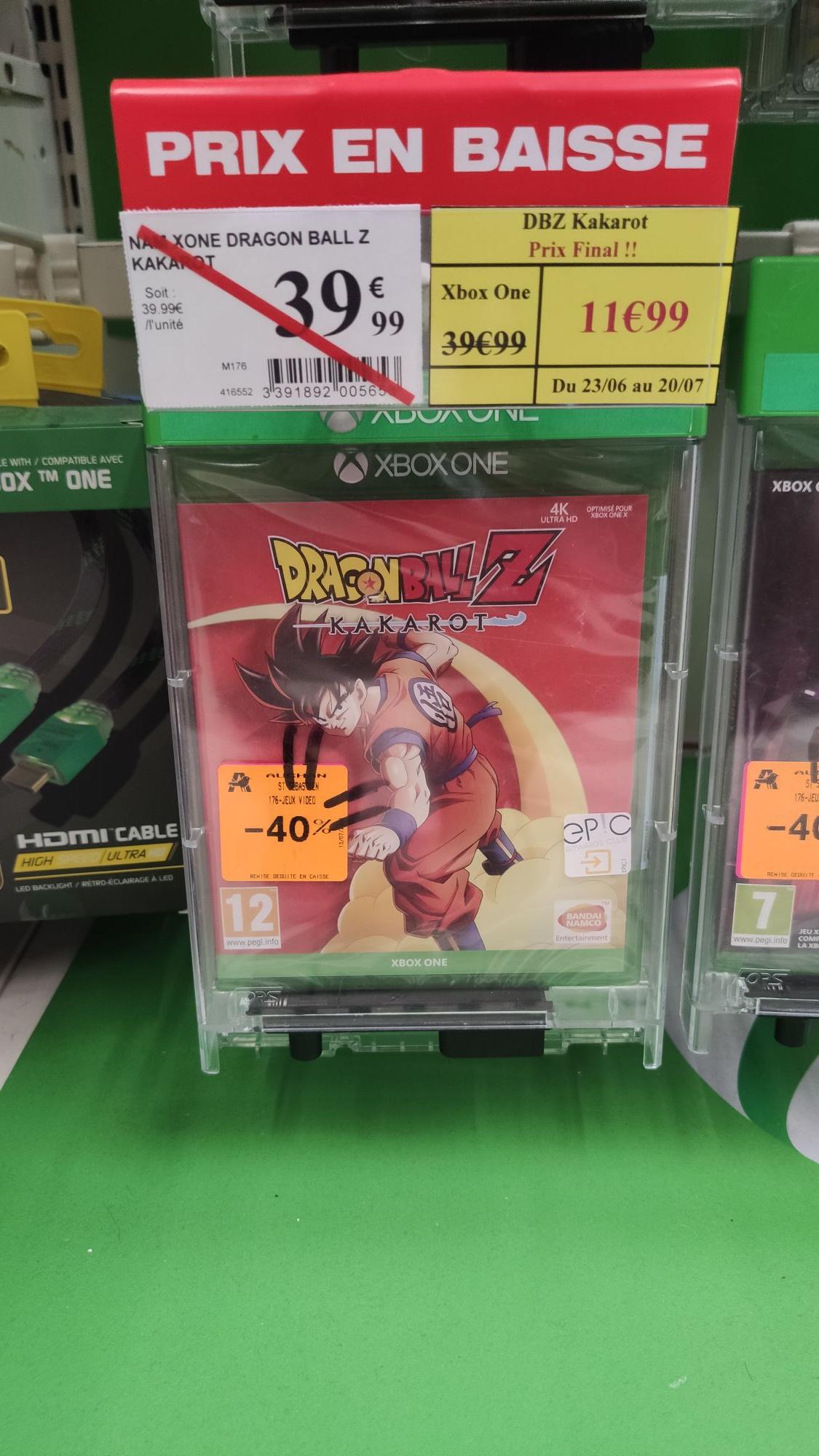 Sélection de jeux vidéo Xbox One en promotion - Ex : Dragon Ball Z Kakarot - St Sébastien sur Loire (44)