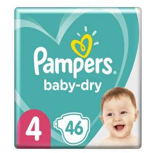 Lot de 2 paquets de Couches Pampers Baby Dry - taille 4 (8-16 kg), 2 x 46 couches