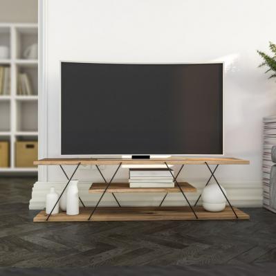 Meuble TV Canaz - 120 x 30 x 33 cm, couleur: noyer & noir