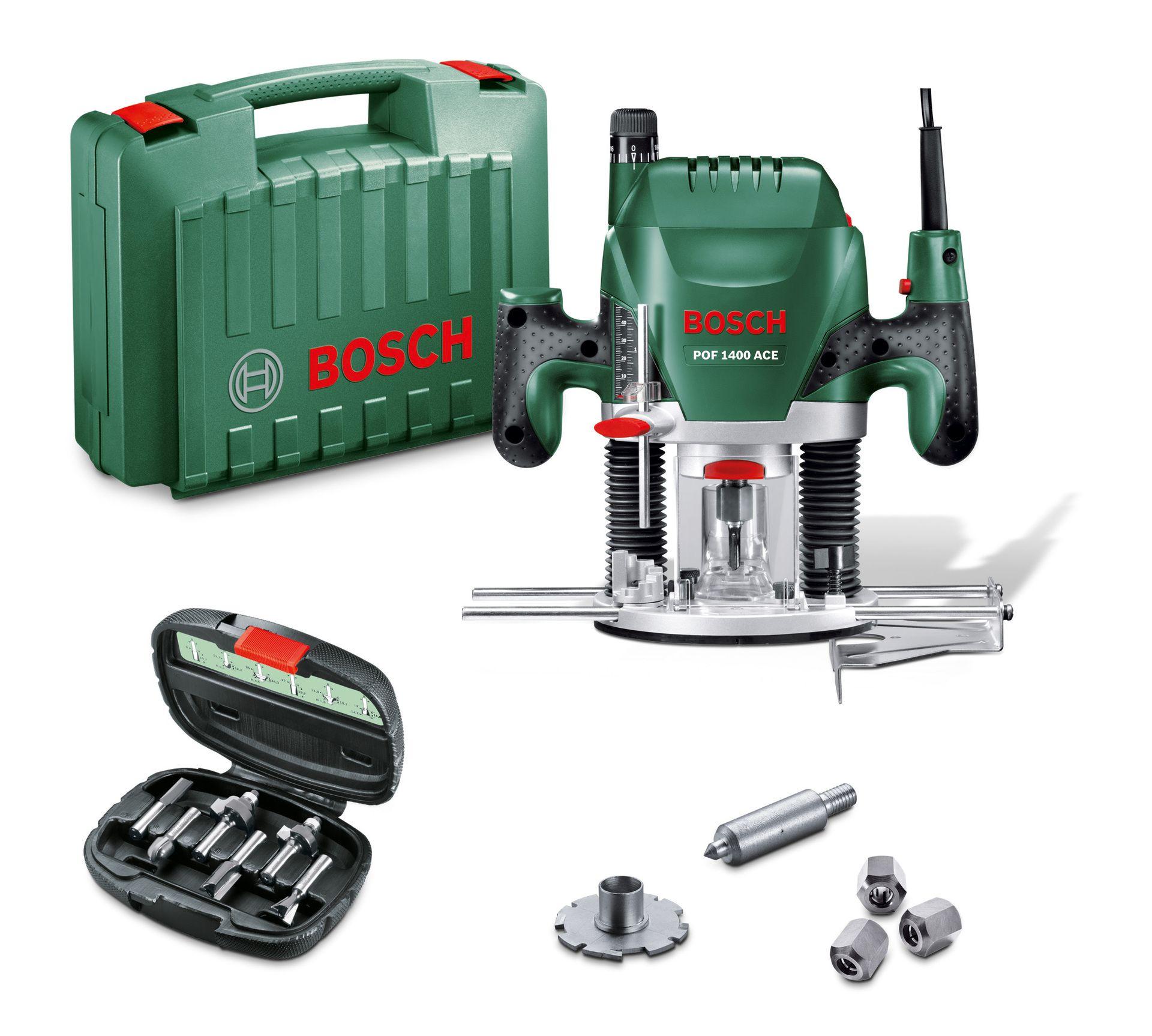Coffret Défonceuse électrique filaire Bosch POF 1400 ACE + 6 Fraises + Accessoires