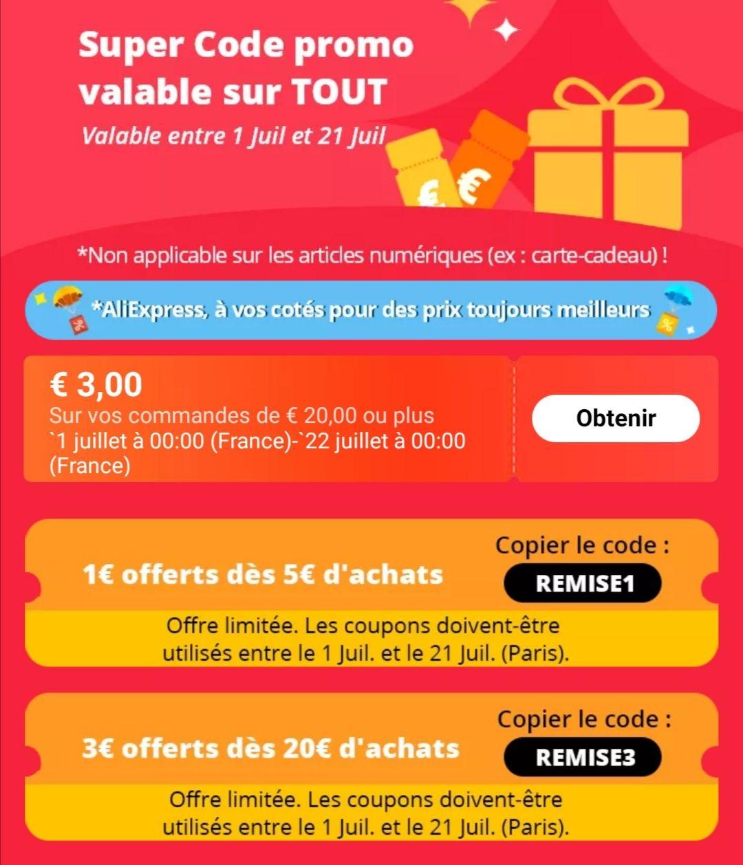 1€ de réduction dès 5€ d'achat et 3€ de réduction dès 20€ d'achat