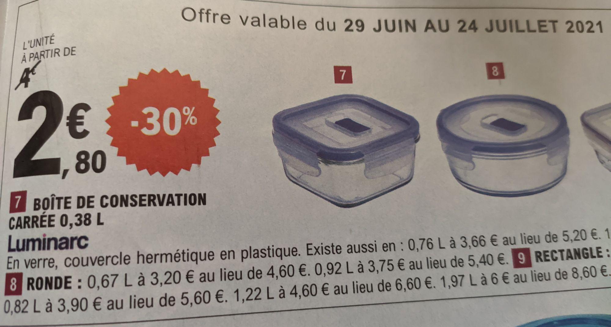 Boite de conservation hermétique en verre Luminarc - 0.38L (Centre-Val de Loire, Orne, Sarthe)