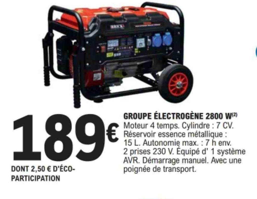 Groupe électrogène Brick - 2800w, Moteur 4 temps