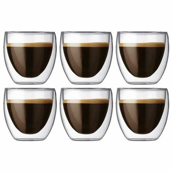 Lot de 6 tasses à café expresso en verre double paroi - 6 x 80 ml (vendeur tiers)