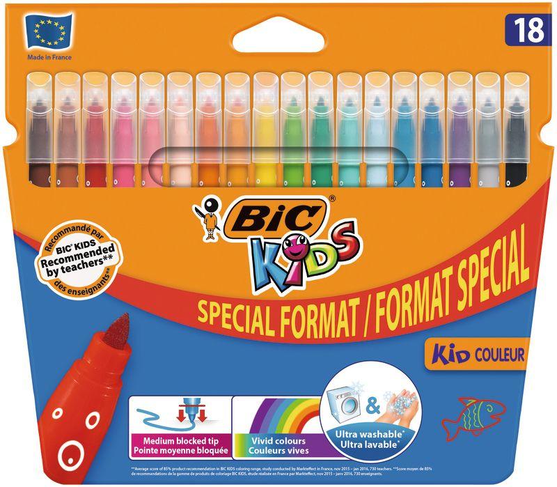 Lot de 18 feutres de coloriage BIC Kids - via 1.23€ sur carte fidélité (ou 18 crayons couleur à 0.43€)