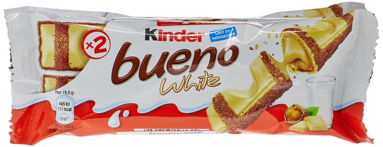 Lot de 15 paquets de 2 x Kinder Bueno white