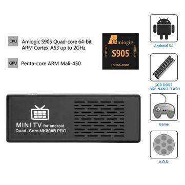 Stick Android MK808B Pro 4K Amlogic S905 Android 5.1 64Bit Quad Core 1G/8G