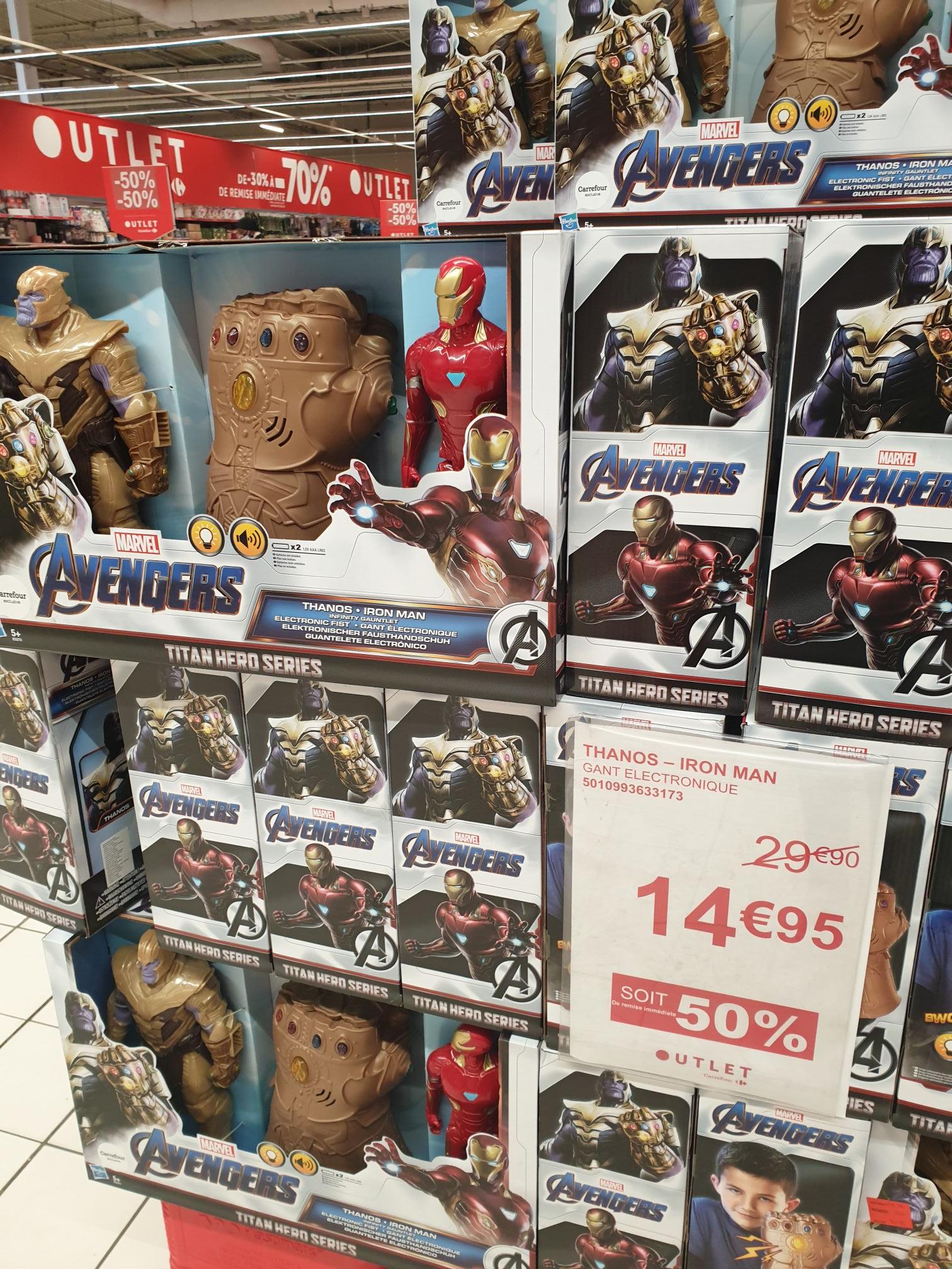 Sélection d'articles en promotion - Ex : gant électronique Hasbro Marvel Avengers Thanos Iron Man (avec 2 figurines) - Sevran (93)