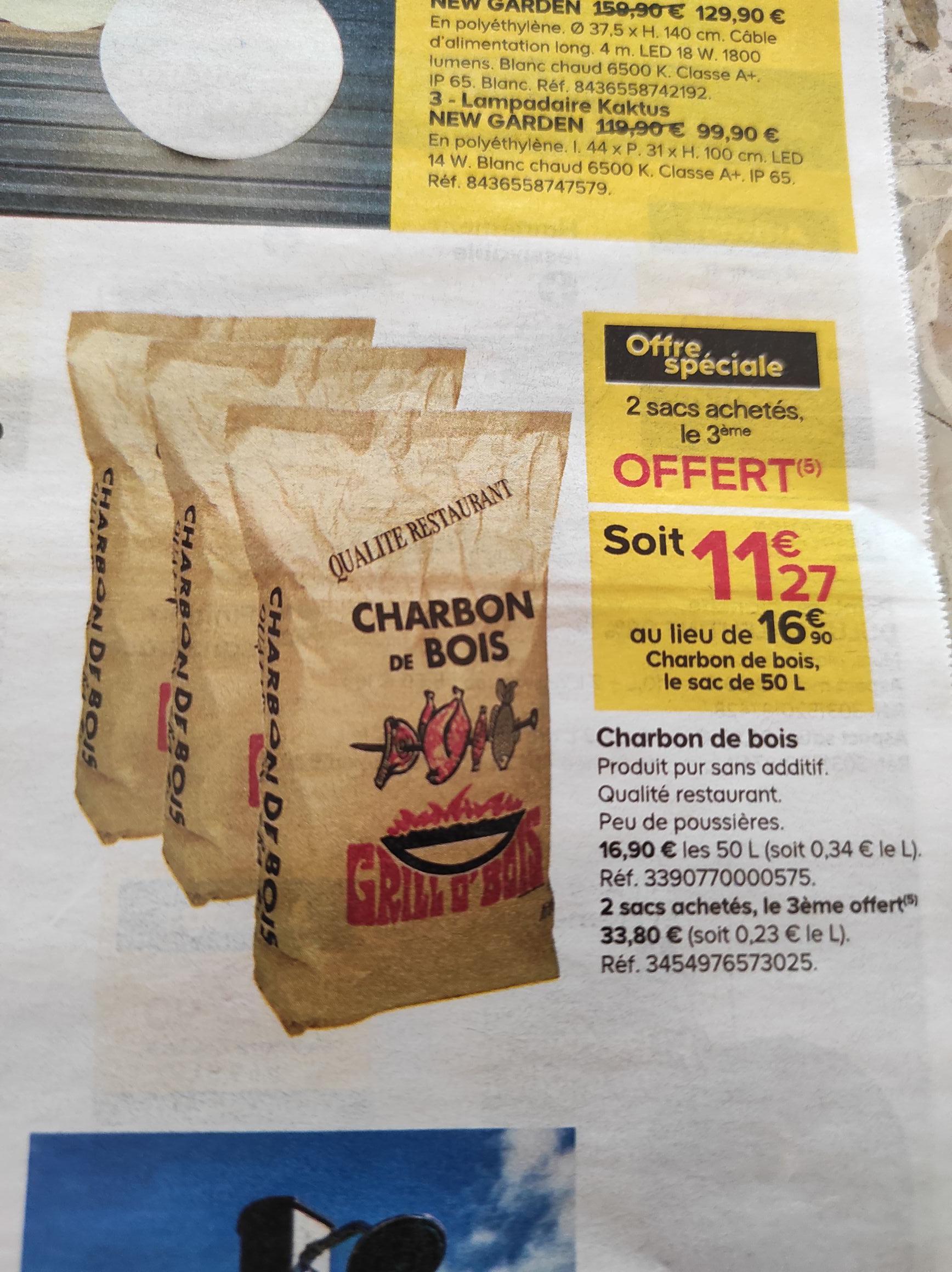 3 Sacs de Charbon de bois Grill O'Bois - 50L