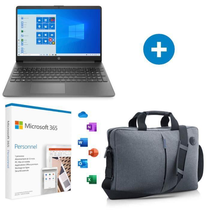 "PC portable 15.6"" HP 15s-eq1079nf - HD, Ryzen 3 3250U, 4 Go RAM, 128 Go SSD, Windows 10 + Office 365 + Sacoche"