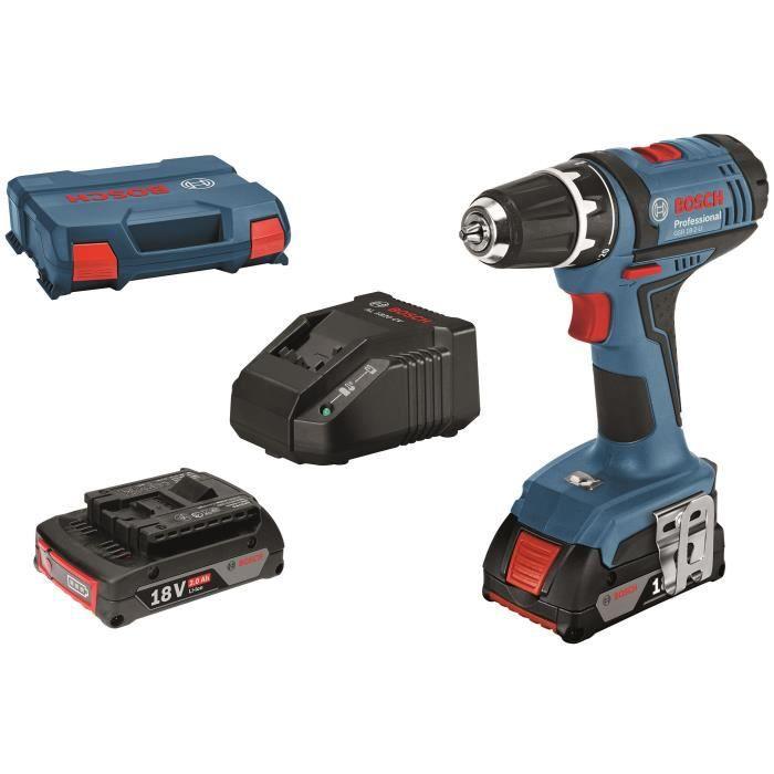 Perceuse visseuse Bosch Profesionnal GSR 18-2-LI - 2 batteries 2.0Ah, Chargeur, L-Case