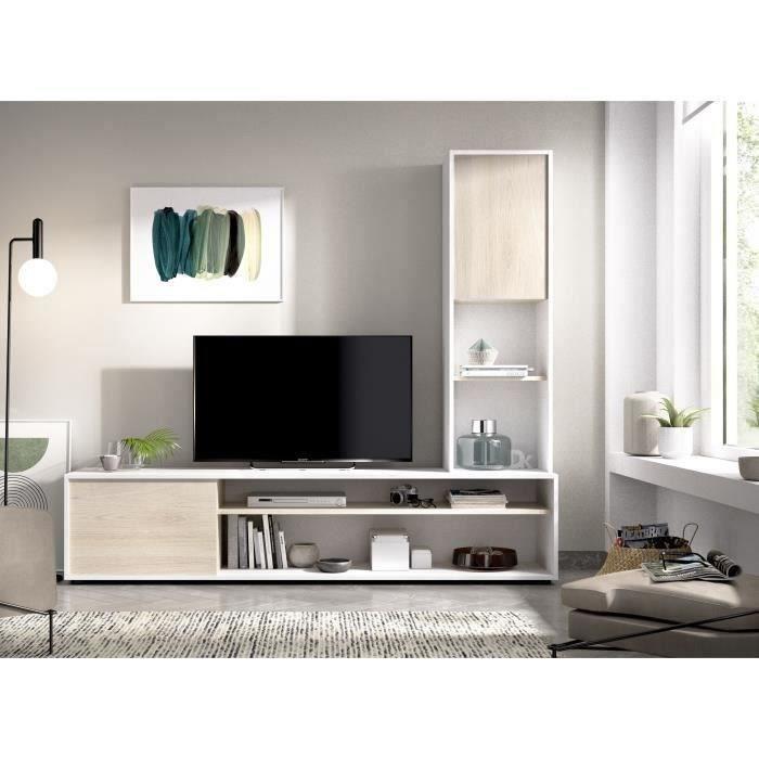 Sélection de meubles en promotion - Meuble tv 2 portes + Colonne réversible Essen - Décor chêne et blanc, L 181 x P 41,5 x H 161