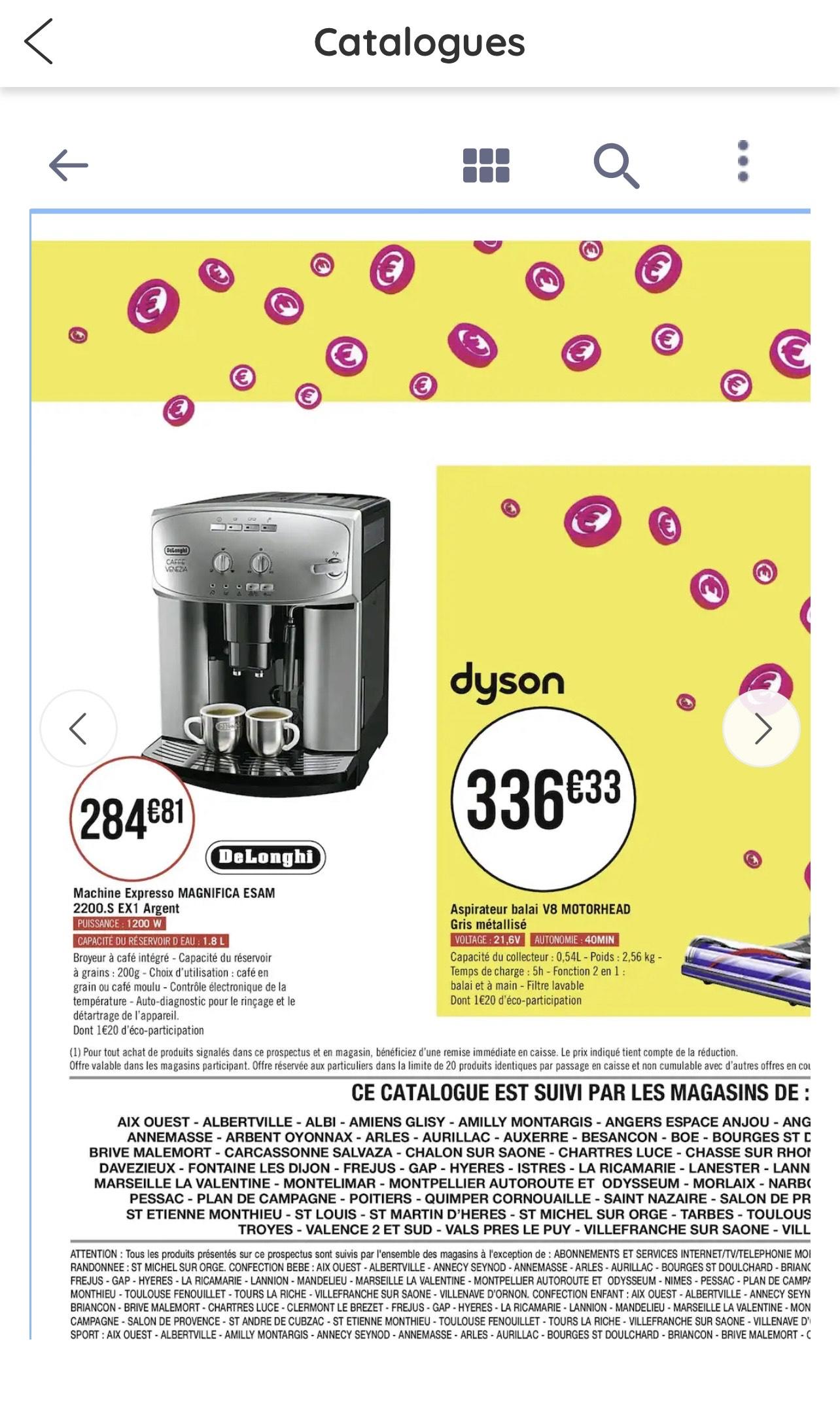 Machine à café Expresso broyeur Delonghi Esam 2200.S EX1 Magnifica (256,33€ pour les abonnés CasinoMax)