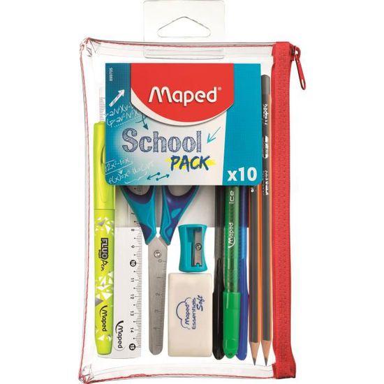Trousse scolaire transparente Maped - School Pack 10 pièces