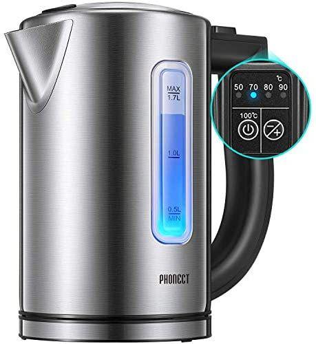 Bouilloire électrique 1,7L, thermostat réglable, inox, sans BPA (Vendeur tiers)