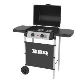 Barbecue à gaz 2 brûleurs Silver Style - 5000W, 6 personnes, chariot + housse