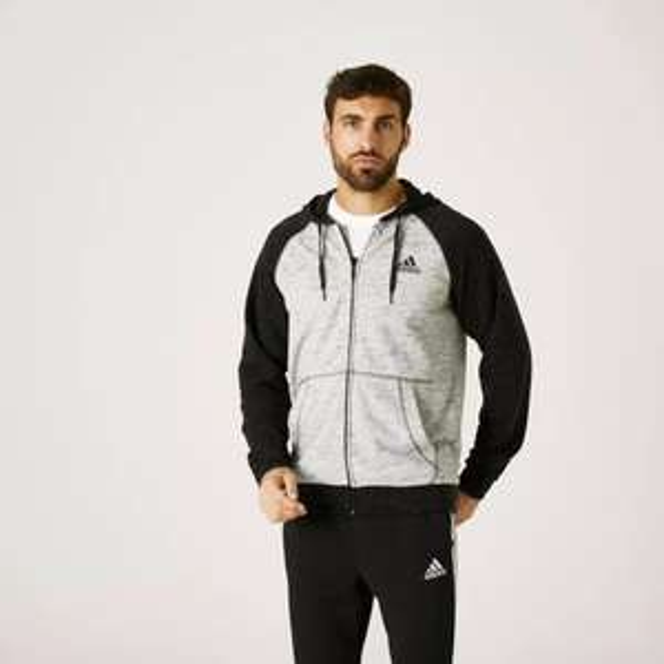 Sweat Zippé à Capuche Adidas Fitness Essentials Gris Chiné Noir (Taille S à 2XL)