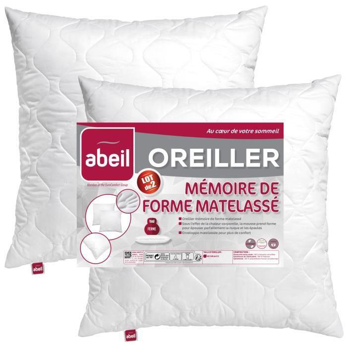 Lot de 2 Oreillers à mémoire de forme matelassés Abeil - 60x60 cm, blanc