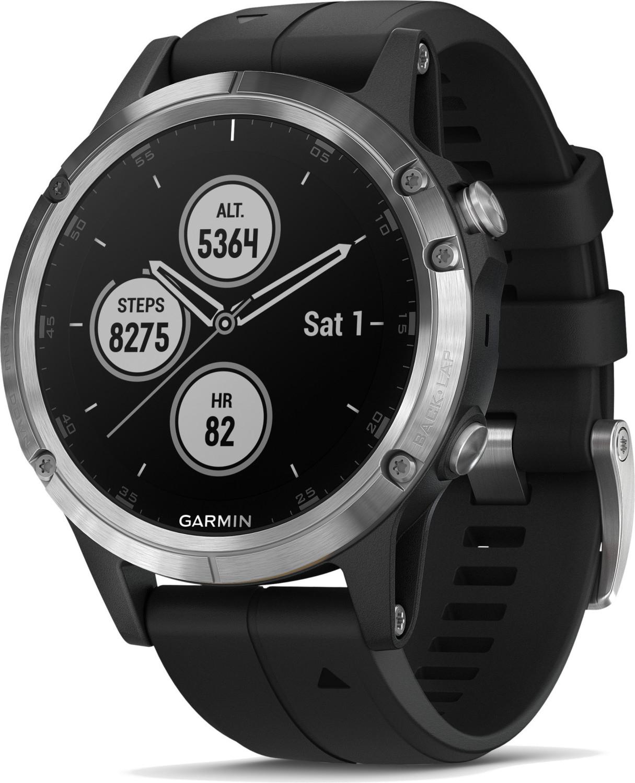 Montre connectée Garmin fenix 5 Plus - bracelet en silicone, argent/noir