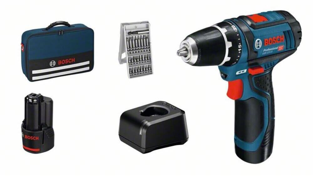 Sac perceuse-visseuse Bosch GSR 12V-15 Professional (12 V) - avec 2 batteries 2.0 Ah + chargeur + accessoires