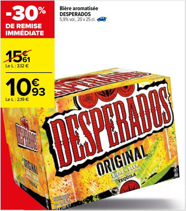 Pack de 20 bières aromatisées Desperados Original - 20x25 cl