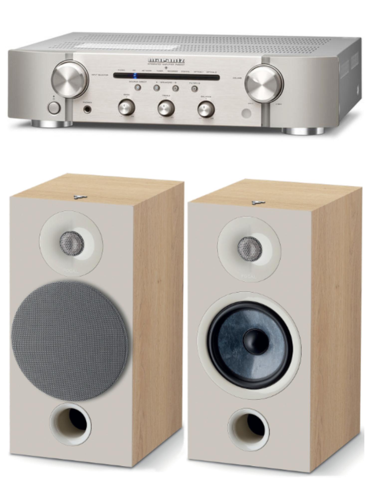 Pack Paire d'Enceintes Bibliothèques Focal Chora 806 Light Wood + Amplificateur/DAC Marantz PM6007 Silver
