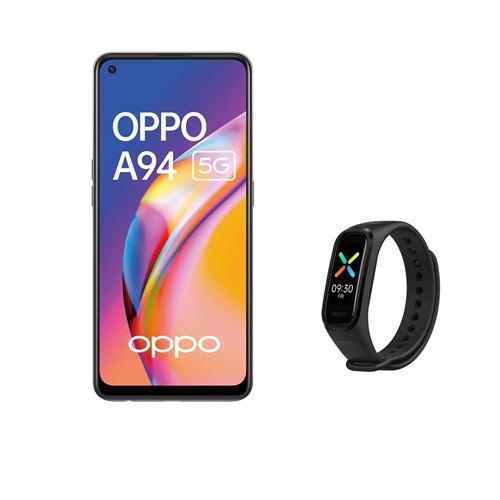 """Pack Smartphone 6.43"""" Oppo A94 5G - Double SIM, 8 Go RAM, 128 Go (Noir) + Coque de protection + Bracelet connecté Oppo Band Sport"""