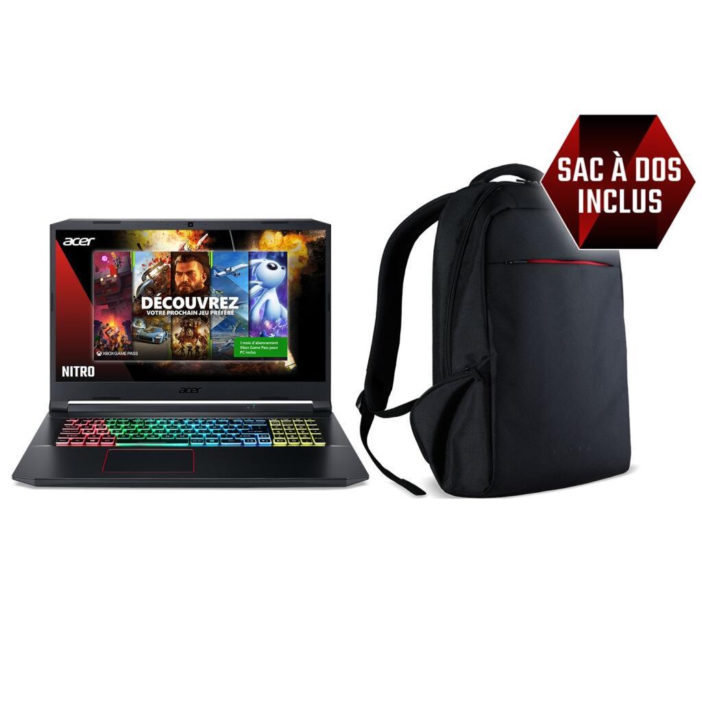 """Sélection d'offres (Saint-Grégoire - 35)- Ex : PC Portable 17.3"""" Acer Nitro 5 AN517-52-54PM (120Hz, i5-10300H, RAM 8Go, SSD 512Go, RTX 3060)"""