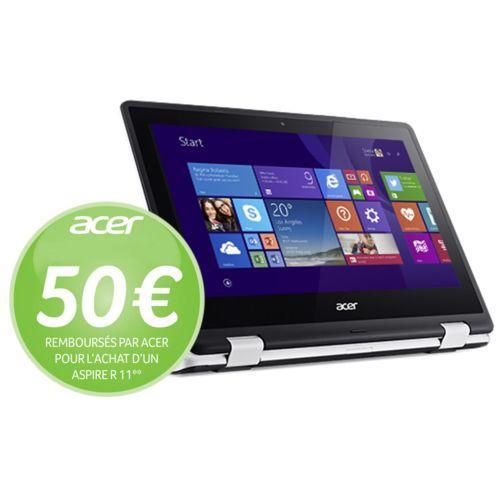 "PC Portable 2-en-1 Tactile 11.6"" Acer Aspire R3-131T Blanc - Intel Celeron N3050, RAM 4 Go, HDD 500 Go, Windows 10 (via ODR de 50€)"