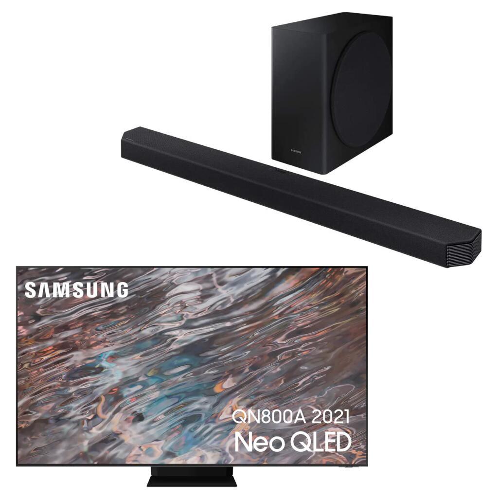 """TV 65"""" Samsung QE65QN800A (Neo QLED, 8K, 100 Hz, HDR 2000, 4x HDMI 2.1) + Barre de son 7.1.2 Samsung HW-Q900T (406W) - Via ODR de 1000€"""