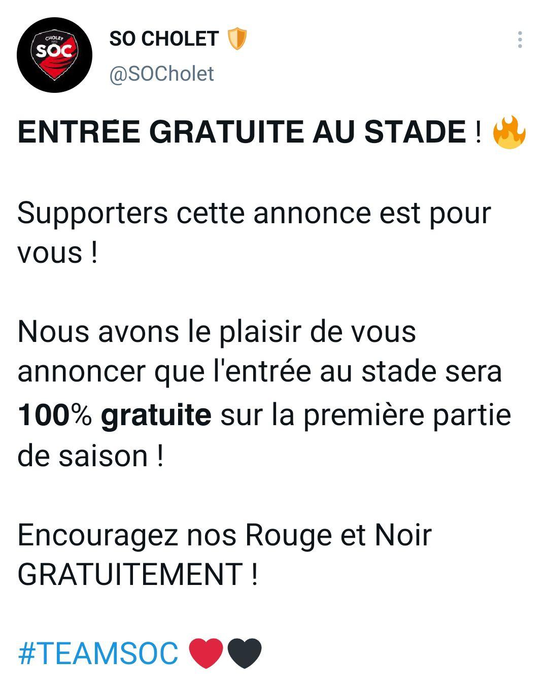 Match de foot à domicile du So Cholet gratuits (49)