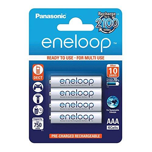 Lot de 4 piles rechargeables Eneloop - AAA, 750mAh