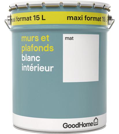 Peinture Murs et Plafonds GoodHome - Blanc intérieur, 15L