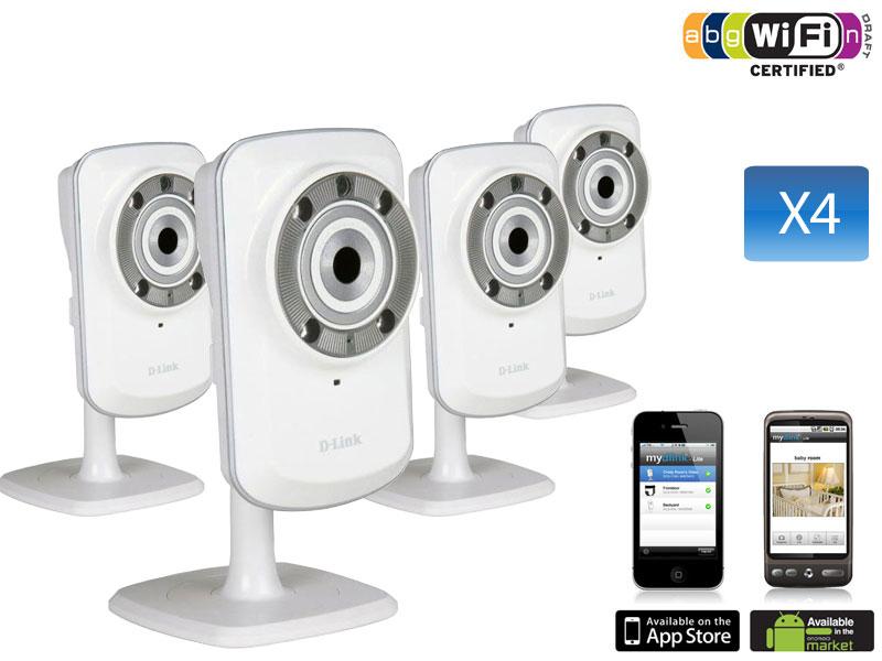 Pack de 4 Caméras réseau Wireless-N 300mbps à vision diurne et nocturne avec mydlink