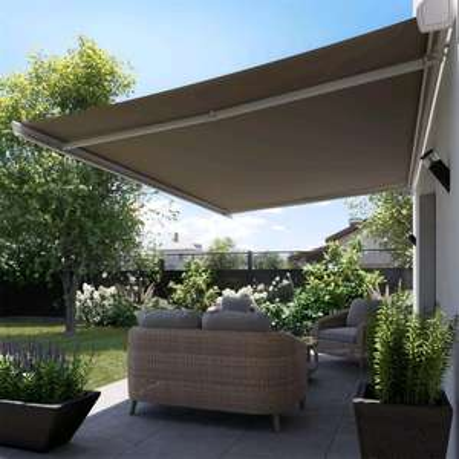Store banne motorisé Zefir blanc - 3.95x3 m, toile brun taupe polyester