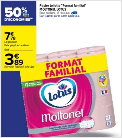 """Paquet de 18 rouleaux de papier toilette Moltonel Lotus """"Format familiale"""" (via 3.89€ sur la carte fidélité)"""