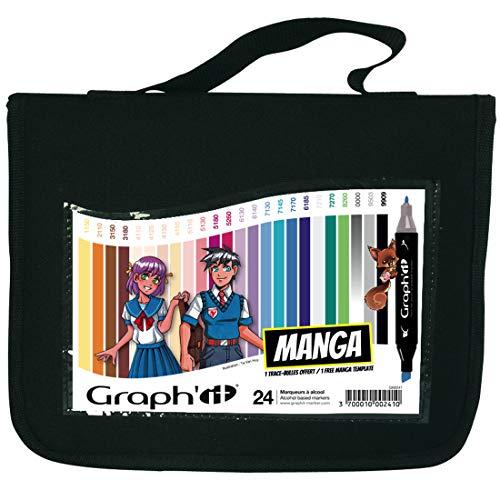 Lot de 24 Marqueurs Graph'it à alcool double pointe Manga colors