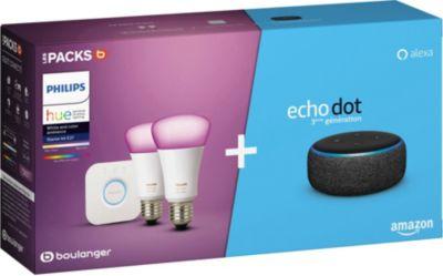 Pack 2 Ampoules Philips Hue White & Colors avec Pont + Assistant vocal Amazon Echo Dot 3 (84.99€ avec RAKUTEN15 + 2.55€ en RP) - Boulanger