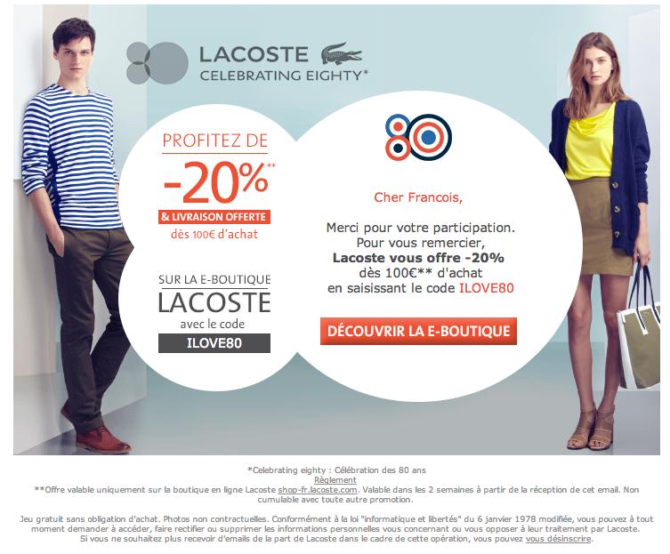 Lacoste -20% et livraison gratuite dès 100€ d'achat