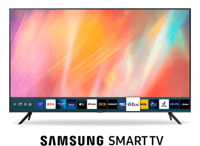 """Abonnement Internet Bbox Must Smart TV (Fibre + Appels illimités + B.tv) pendant 24 mois + TV 43"""" Samsung 43AU7105 - 4K UHD, HDR, Smart TV"""
