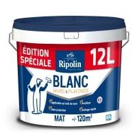 Pot de peinture Ripolin Édition Spéciale Murs & Plafonds Bicouche - 12L, Blanc Mat (via retrait magasin)