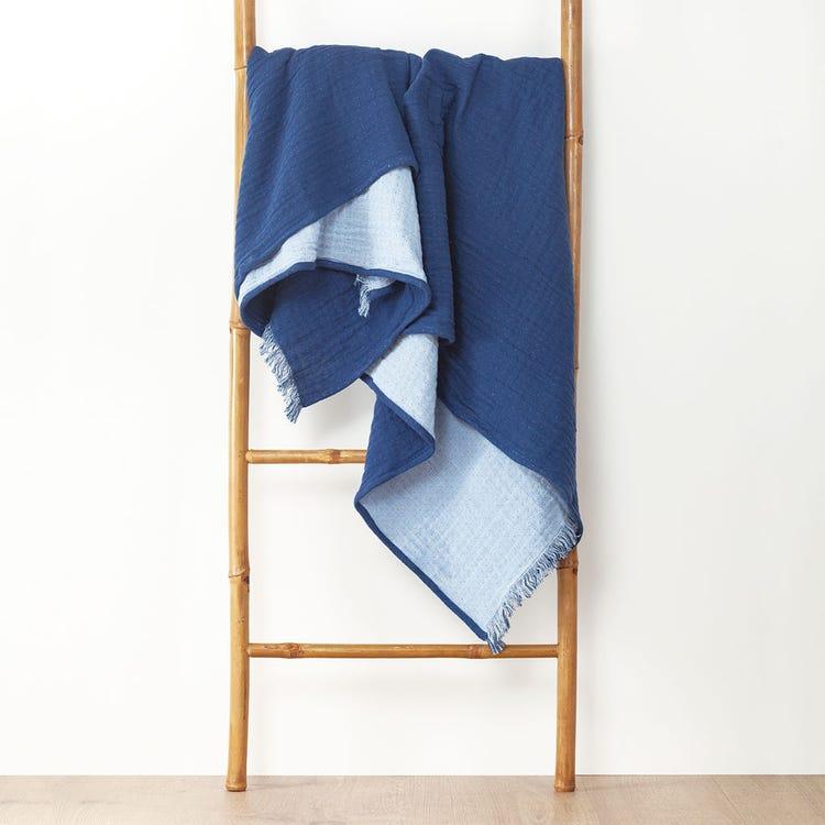 Sélection de plaids en promotion - Ex : Plaid bicolore Fringes - bleu foncé, 180x220 cm