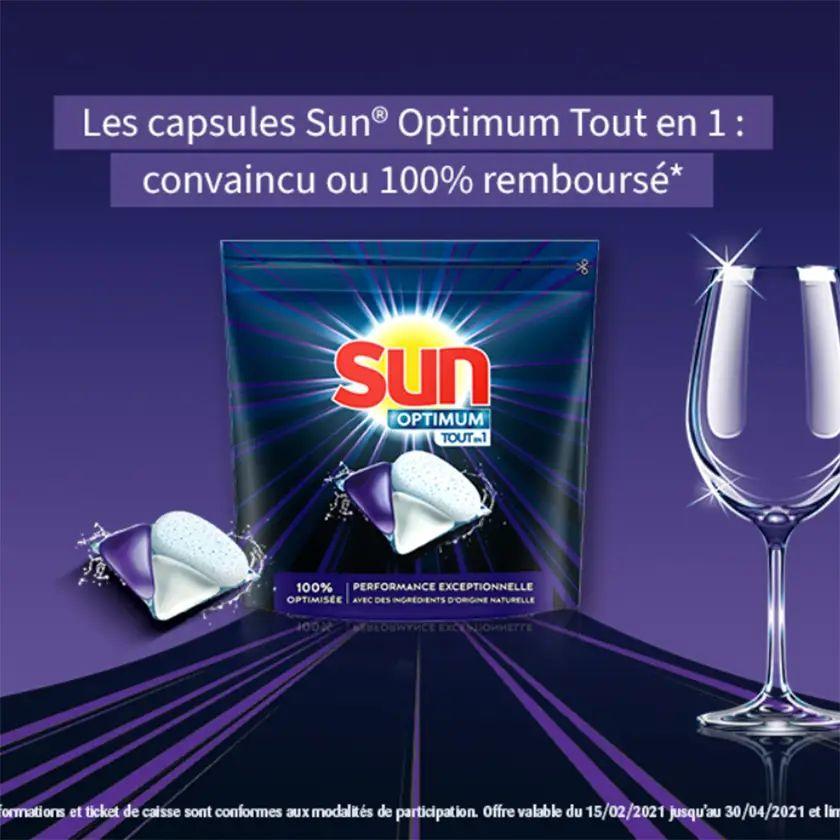 Paquet de capsules pour lave-vaisselle Sun Optimum Tout-en-1 gratuit - 100% remboursé, différents produits (via ODR) - MaVieEnCouleurs.fr
